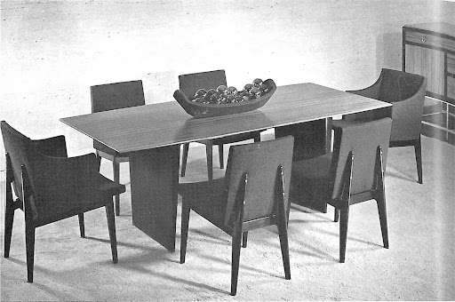 My dining table at home is a loose interpretation of this Dunbar design.  Mine has a thicker top and concave legs.