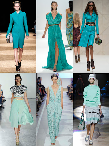 Images from Fashion Week 2011. Turquoise in almost every imaginable shade! (www.refinery29.com)