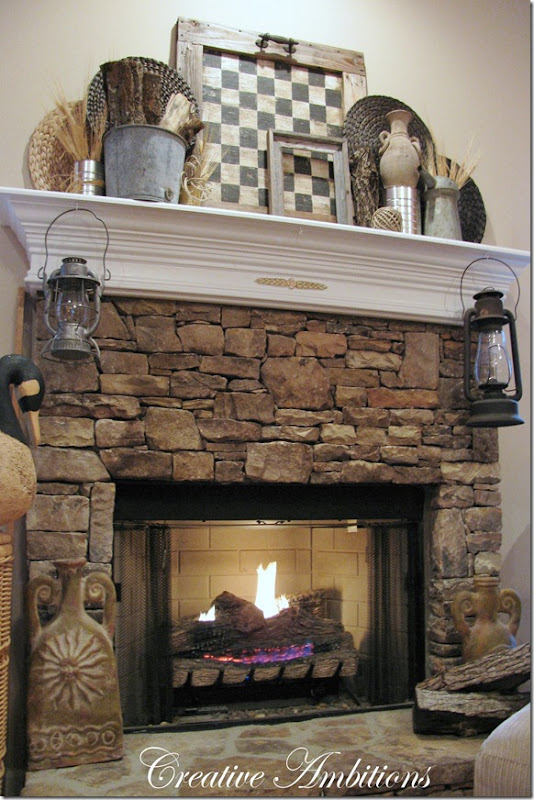 Creative ambitions rustic winter mantel for Rustic mantels for stone fireplaces