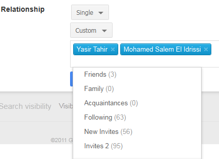 relationship status settings on Google+