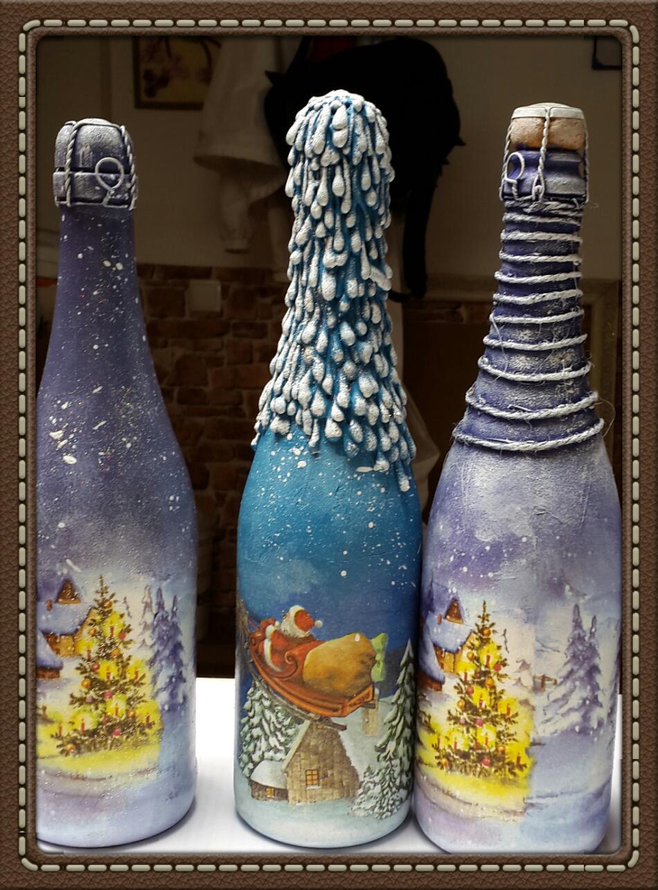 Декупаж шампанского на новый год своими руками мастер класс