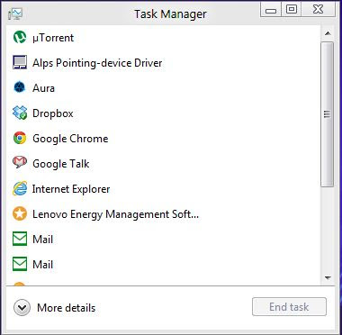 The default view in the task manager is a very plain one with not much going on. Just a list of the running apps and their icons. What you get after clicking on the More details button is also very different than before, but also familiar