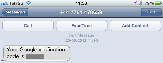 A reset code SMS'd by Google