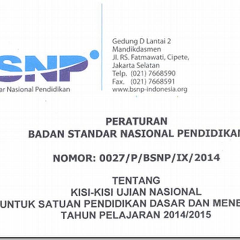 Download Kisi-kisi Ujian Nasional Tahun Pelajaran 2014/2015