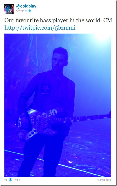 Twitter - @coldplay- Our favourite bass player ...