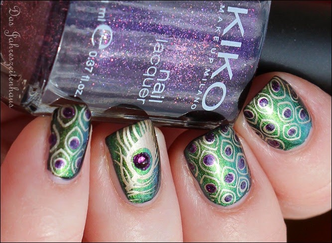 Peacock Nails Stamping Pfauenfeder 3