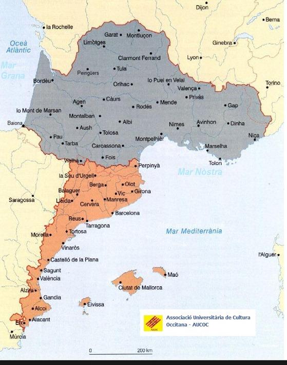 Mapa Occitana e Catalana