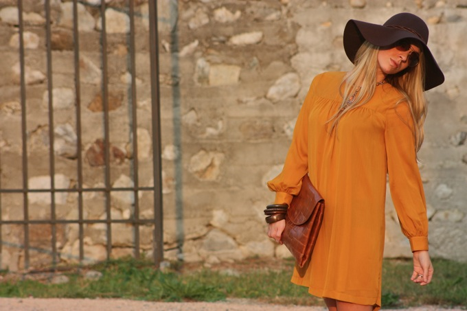 mustard hm dress