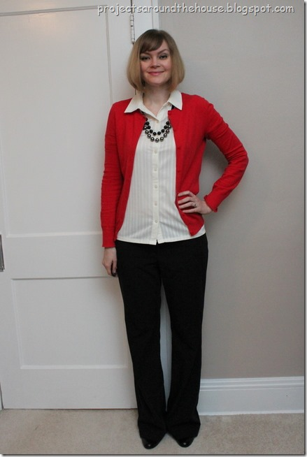 red cardigan, button down, black pants