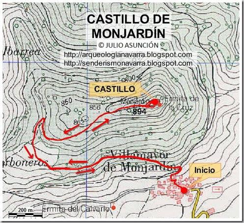 Mapa ruta Castillo de Monjardín