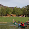 Canoeing, cabins and Tinto in the background