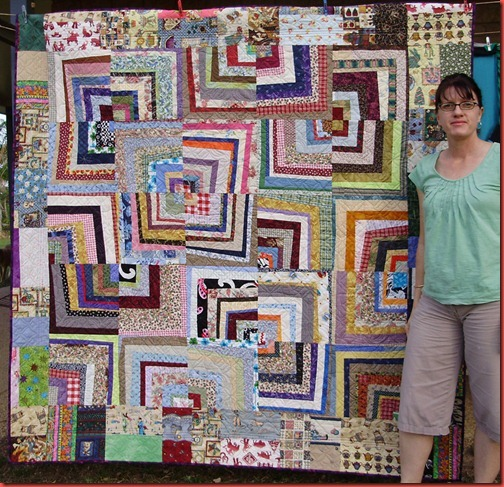 Confetti Quilt - back and Me