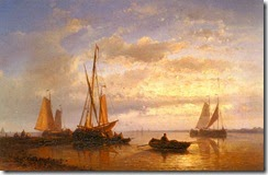 Abraham_Hulk_Snr_-_Dutch_Fishing_Vessels_In_A_Calm_At_Sunset