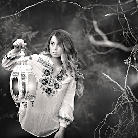 Into the night by Carole Brown - People Portraits of Women ( lantern, ombre hair, black and white, trees, night time )