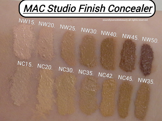 MAC Studio Finish Concealer Review & Swatches of Shades NW15, NW20, NW25, NW30, NW40, NW50, NC15, NC20, NC30, NC35, NC42, NC45, NW35