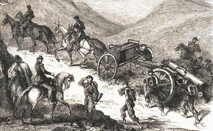 Artiglieria piemontese assedio Gaeta (stampa francese, part)
