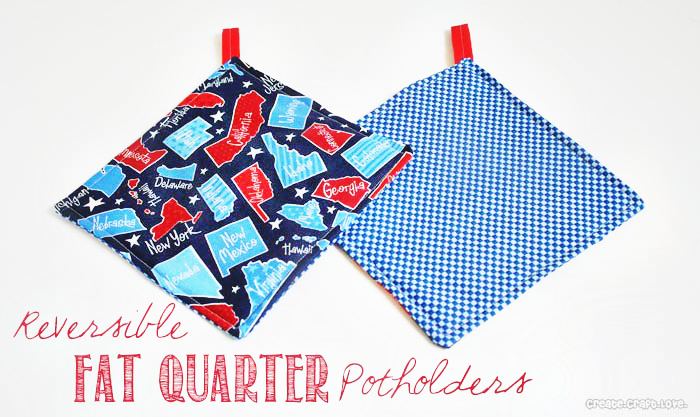 Reversible Fat Quarter Potholders by Create. Craft. Love.  #tutorial