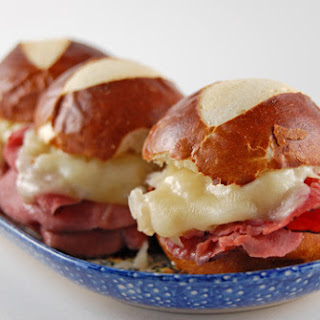 Reuben Sliders on Pretzel Rolls