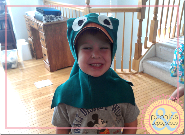 DIY Perry the Platypus - headgear close up