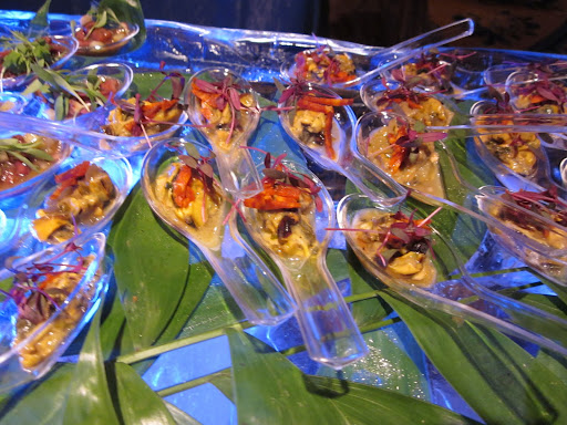 The hors d'oeuvres included many preparations of oysters, shrimp, crab, mussels, and, as you see here, octopus.