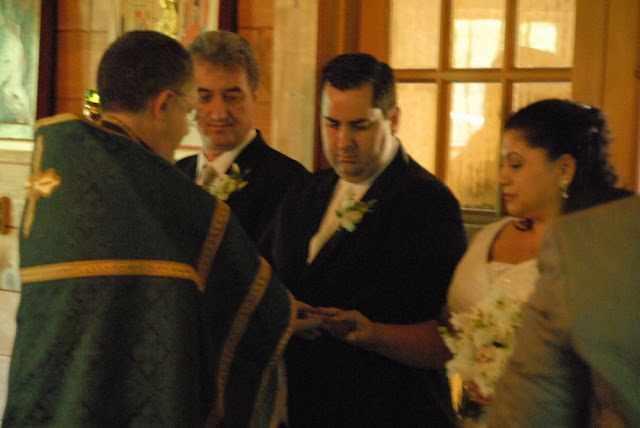 The rings are placed on the bride and bridegroom.