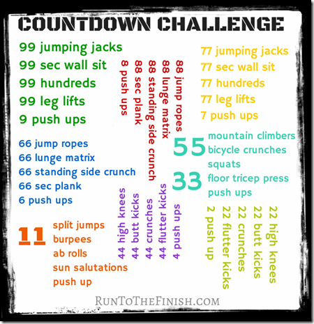 99 countdown challenge workout | RunToTheFinish