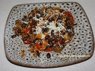 Black Bean & Sweet Potato Stir-fry  served wo chips B