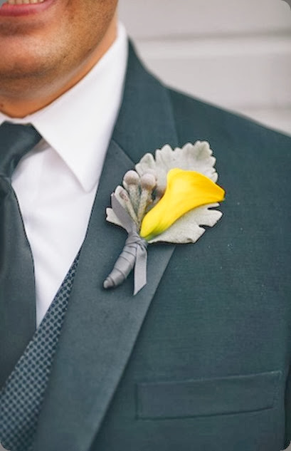 Yellow Mini Calla Boutonnierre MV Revert Photo and cori cook