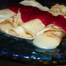 French Cream Crepes With Raspberry Sauce