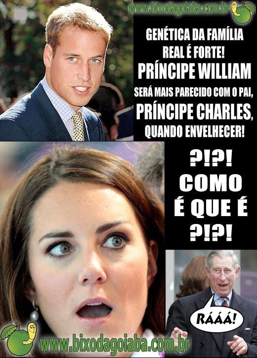 Príncipe William será mais parecido com o pai, Príncipe Charles, quando envelhecer. Pobre Kate Middleton, levou um susto com essa pegadinha
