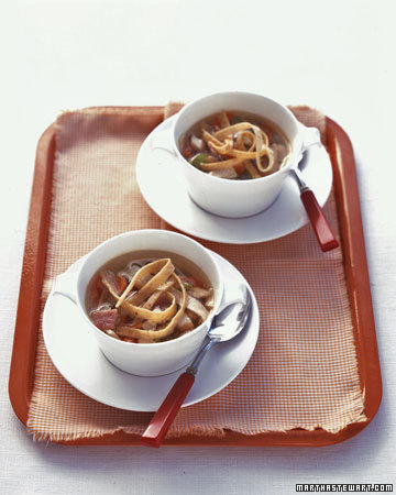 Tortilla soup would be a delicious first course at a Cinco de Mayo dinner. (marthastewart.com)