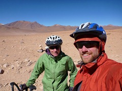 At Paso Sol de Manana, Southwestern Bolivia.  Our highest pass of the trip at 4950m.