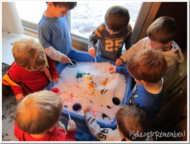 Colored Snow Sensory and Fine Motor Play