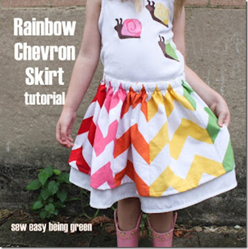 rainbow chevron skirt