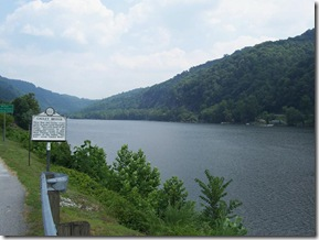 Gauley Bridge marker along the Gauley River looking east