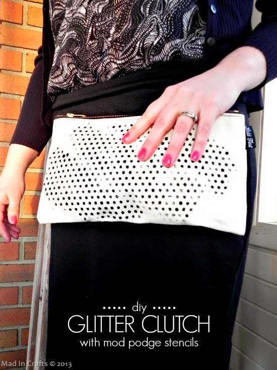 DIY Glitter Clutch with Mod Podge Stencils