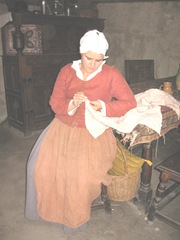 Plimoth Plant pilgrim lady sewing