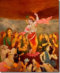Krishna lifting Govardhana Hill