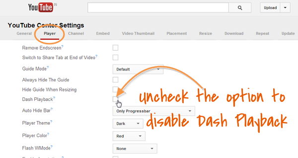 Disable Dash Playback on youtube