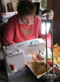 Barb Still Quilting On Fall Quilt