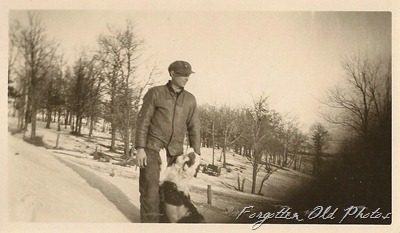 Snowy scene with a dog Tin Ceiling