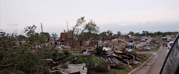 Neighborhood ravaged by tornado