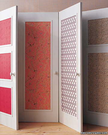 I love this idea. Wallpapering a door really makes a bright touch. (marthastewart.com)