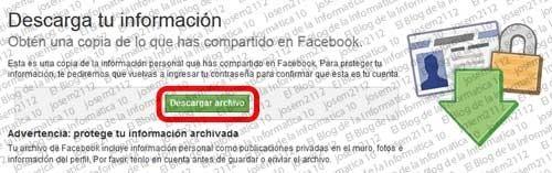Copia de seguridad de Facebook - descargar archivo copia seguridad