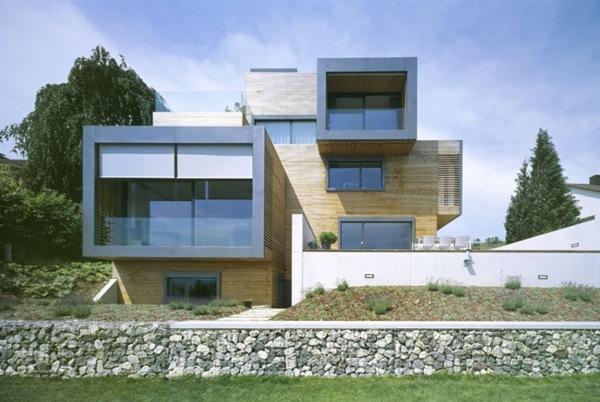 fachada moderna casa revestimiento madera