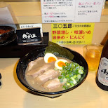 thick tonkotsu ramen plus an Asahi beer in Roppongi in Tokyo, Tokyo, Japan