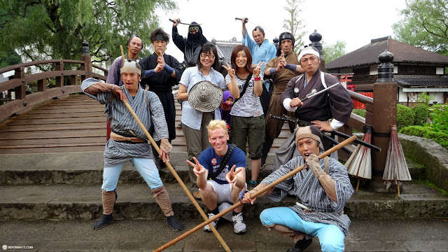 group photo with the staff at Edo Wonderland in Nikko, Totigi (Tochigi) , Japan
