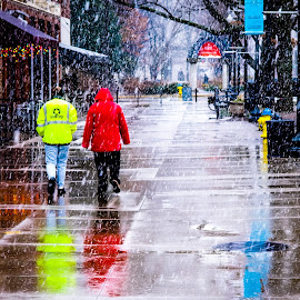 Knoxville Snow by Ron Plasencia - City,  Street & Park  Street Scenes ( walking, red, wet street, bright, knoxville, market square, snow, reflections, yellow, people )