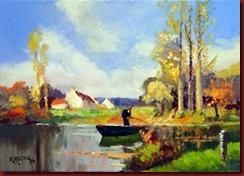 Pescador en un recodo del rio (46x33)