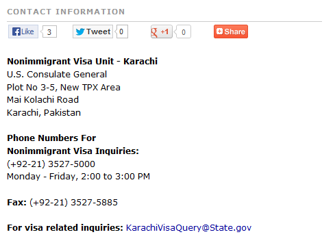 us consulate karachi contact information